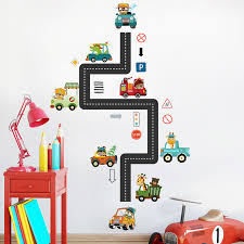 cartoon animals racing wall stickers