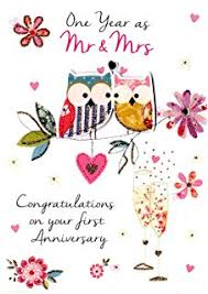 hand finished first wedding anniversary card amazon co uk Congratulations Your Wedding Anniversary first wedding anniversary greeting card second nature just to say cards congratulations your wedding anniversary quotes