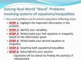 solving real world word problems involving systems of equations inequalities