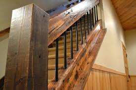 rustic stair railing wood treads risers railings enterprise products  reclaimed timber white pine handrail