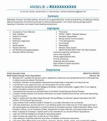 Police Records Clerk Sample Resume
