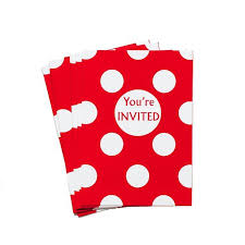 Polka Dot Invitations 8 Red Polka Dot Party Invitations