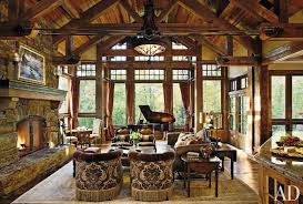 rustic country living room furniture. Open Sunroom Rustic Living Room With Country Style Furniture Feats Round Chandelier Hang On Sloped Wood Ceiling