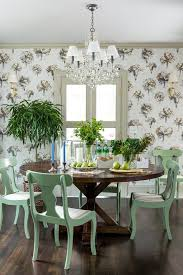 blooming round dining table decor traditional dining room in raleigh with upholstered headboard and white window