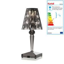 kartell battery night table lamp in smoke grey battery table lamps ferruccio laviani