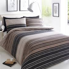 pieridae stripe duvet set bed quilt cover reversible pillowcase texture brown super king size 259136