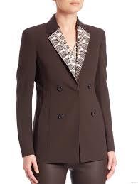 akris snakeskin leather collar wool jacket by women s date