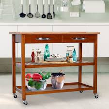 Aosom Homcom 44 3 Tier Rubberwood Kitchen Island Cart On Wheels