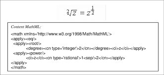 an example of content mathml encoding of a simple mathematical equation