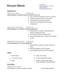 Resume And Bio Korynn Oberle Game Designer