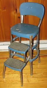 vintage cosco metal step stool chair blue mid century modern pickup