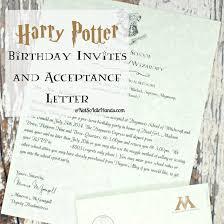 harry potter birthday invitations and authentic acceptance letter harry potter birthday invitations and authentic acceptance letter and party part 1