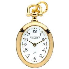 womens gold plated open face oval pendant watch quartz