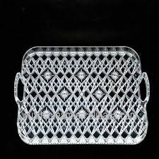 China Crystal Clear Plastic Rectangular Tray with Handles; plastic serving  tray