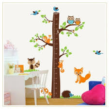 Cute Growth Chart Tree Growth Chart With Cute Animals Wall Sticker