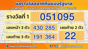 ตรวจผลสลากกินแบ่งรัฐบาล งวดวันที่ 1 เมษายน 2563 ออกรางวัล วันที่ 16 พฤษภาคม  2563