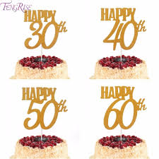 60th Birthday Cake Toppers Fengrise 1pc Gold Happy Birthday Cake