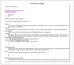 Create three (3) Web pages: index.htm, tips.htm, and glossary. Open ...