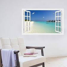 beach sea 3d window decal wall stickers home decor exotic beach wallpaper mural on tropical themed wall art with mediterranean beach tropical d cor wall stickers art ebay