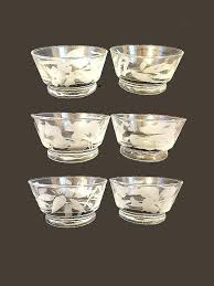 bowls etched glass bowl vintage dessert bowls fl six footed tropical flowers ice cream berry