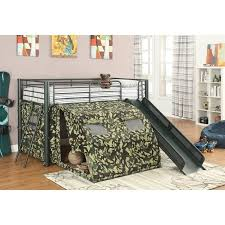 Coaster Oates Twin Size Kids Metal Loft Bed With Slide in Camouflage ...