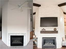 white stone fireplace remodel