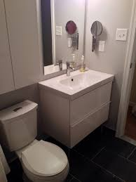 Glorious White Floating Ikea Bathroom Vanity With Single Sink And Cabinet  Over Toilet In Small Space Bathroom Designs