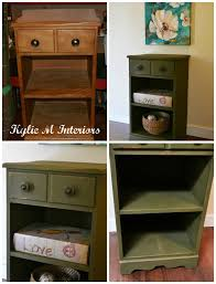 painted green furniture. Painted And Distressed Olive Green Chalk Paint Side Table Before After Furniture S