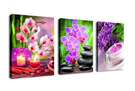 office artwork canvas. Exellent Artwork Zen Canvas Wall Art SPA Pictures Stone Green Bamboo Pink Waterlily  Painting 3 Pieces Modern With Office Artwork