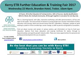 kerry etb further education training fair careers and education and training adult and second chance learners jobseekers employers people at work wishing to upskill or those considering a career change
