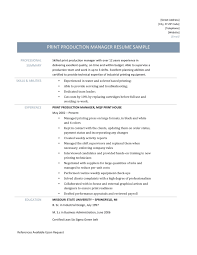 Production Manager Resumes Print Production Manager Resume Online Resume Builders