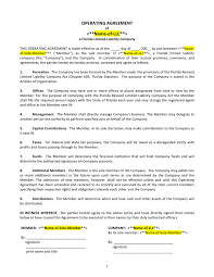 template for llc operating agreement llc operating agreement template florida in word and pdf formats
