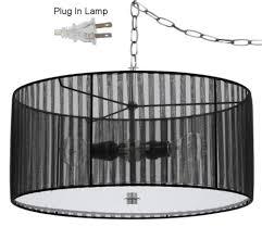 sheer black drum swag lamp 18 w