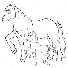 Kleurplaten Boerderijdieren Moeder Paard Met Veulen Stockvector