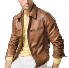 tan brown men biker leather jackets