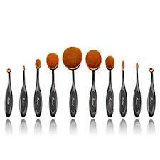 amazon professional fashionable 10pcs black makeup brushes set oval toothbrush cosmetics tool foundation contour brush powder blush eyeliner blending
