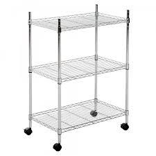 homcom kitchen trolley 3 tier 60lx35wx84 5h cm steel silver aosom uk