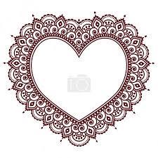 Vektorová Grafika Grettings Valentýna Srdcem Mehndi Indická Henna