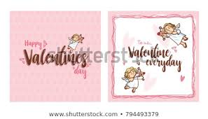Cupid Inside Frame Valentines Day Vector Stock Vector Royalty Free