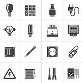black electrical devices and equipment icons vector art thinkstock image