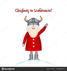 Christmas Card Template Smiling Cartoon Happy Santa Stands