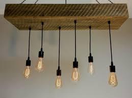 custom made reclaimed barn wood 1 2 beam chandelier light fixture with hanging edison bulbs