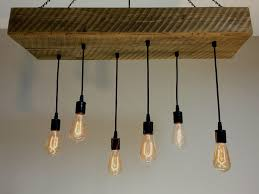 custom made reclaimed barn wood 1 2 beam chandelier light fixture with hanging edison bulbs