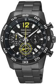 seiko quartz chronograph black dial sports mens watch ssb131p1
