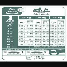 German Shepherd Puppy Food Chart Feeding Chart For German Shepherd Dogs According To Their