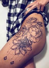 Black Chandelier Flower Hip Tattoo Ideas Realistic Geometric