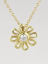 18k gold and diamond paloma picasso daisy pendant necklace tiffany