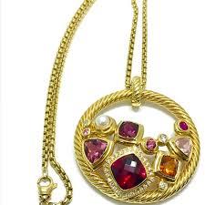 david yurman mosaic diamond and multi gemstone yellow gold pendant and chain sold van cleef arpels est ak1b1433 157918 1 org l