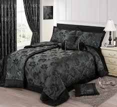 black silver colour stylish fl jacquard luxury embellished quilted bedspread set
