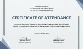 Certificate Of Attendance Seminar Template Chanceinc Co